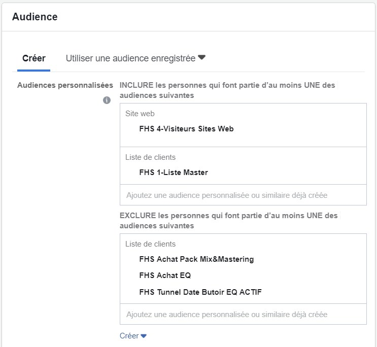 Ensemble de publicité Facebook optimisé pour le reciblage