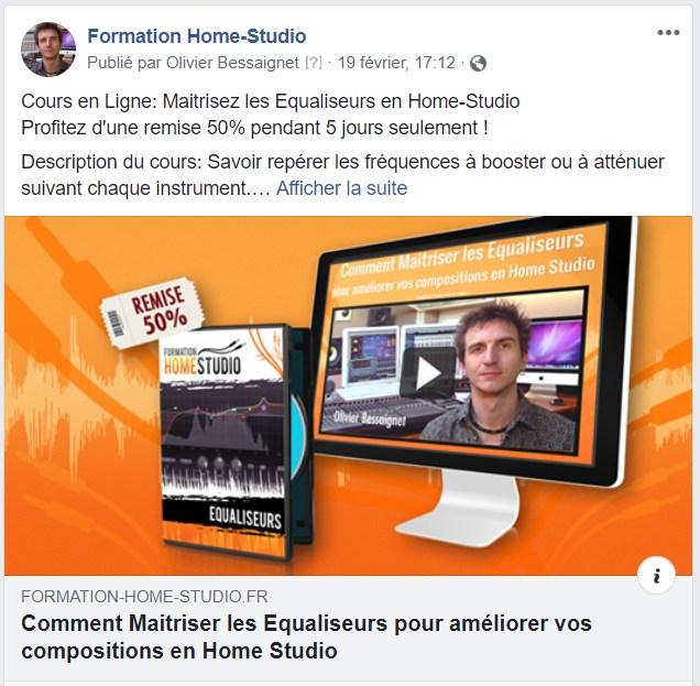 Exemple de publicité de reciblage Facebook pour un produit numérique