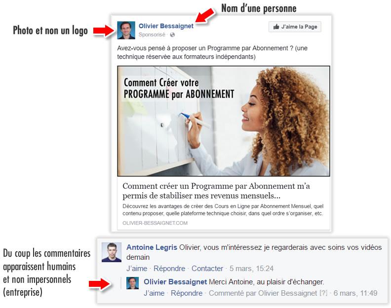 Commentaires Facebook Personnaliés