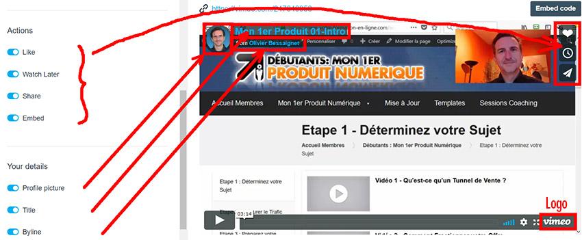 Réglages Vimeo avec boutons de partages