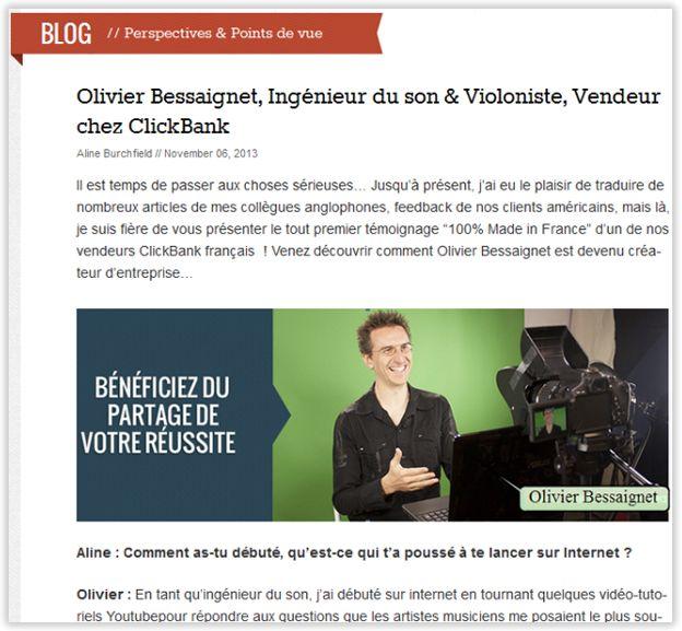 Extrait Article Clickbank Olivier Bessaignet